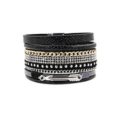 Bracelets en cuir Bohême Fait à la main Mode Cuir Strass Alliage Forme d'Etoile Bijoux Pour Mariage Soirée Occasion spéciale Anniversaire