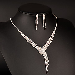 Choker Necklaces Earrings Set AAA Cubic Zirconia Fashion Luxury Elegant Platinum  Round Square 1 Necklace 1 Pair of Earrings For Wedding Party