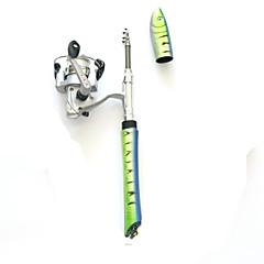 Stenger til fluefiske Isfiskestang Aluminium 100 M Isfikeri Fiskestenger + Fiskesneller Grønn Gul Shad Rød Blå-Fonoun