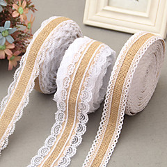 5M width 2.5cm Natural Jute Burlap Hessian Ribbon with Lace Trims Tape Rustic Wedding Decor Wedding Cake Topper