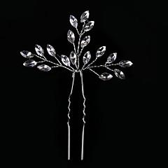 Kristallen Licht Metaal Helm-Bruiloft Speciale gelegenheden Informeel Haarclip Haarspeld Haarstokje 2-delig