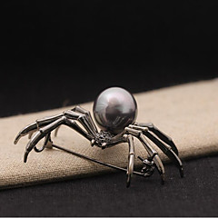Brooches Imitation Pearl Pearl Alloy Black Silver Animal Design Imitation Pearl Jewelry Wedding Party Special Occasion Halloween Casual