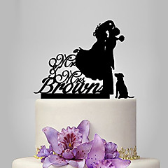 Personalized Acrylic Bride And Groom With One Dog Wedding Cake Topper