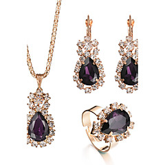 2017 New 6 Colors Charm Elegant Bridal Jewelry Sets Rhinestone Crystal Water Drop Pendant Necklace Earrings  Rings Sets Wedding Accessories