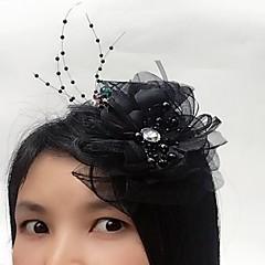 Bergkristal Tule Net Helm-Bruiloft Speciale gelegenheden Fascinators Bloemen 1 Stuk