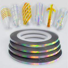 50pcs / box 2mm 20m Art und Weiseregenbogen funkelnde Folie, die Bandlinie Nagelkunst diy Schönheitslaser silberne Glitterfolie streift,