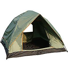 3-4人 テント ダブル 自動テント 1つのルーム キャンプテント 1000-1500 mm ファイバーグラス オックスフォード 防湿 防水 通気性 防雨-ハイキング キャンピング 旅行 屋外-イエロー ブルー アーミーグリーン