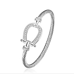 Women's Bangles AAA Cubic Zirconia Friendship Movie Jewelry Fashion Luxury Sterling Silver Zircon Circle Geometric Silver Jewelry For