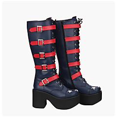 Sapatos Gótica Punk Confeccionada à Mão Inspiração Vintage Plataforma Lolita 10 CM Azul Para Couro PU/Couro de Poliuretano Couro PU