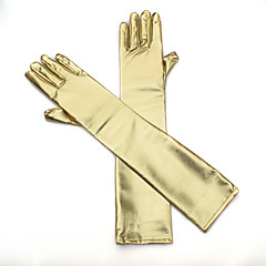Gold Elbow Length Gloves  Bridal Party Glove with DIY Artifical Pearls Rhinestones for Wedding Dress Accessories