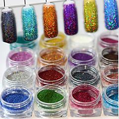 17bottles/set 0.2g/bottle Fashion Gorgeous Style Colorful Shining DIY Charm Pigment Decoration Nail Art Laser Glitter Holographic Fine Powder JX01-17