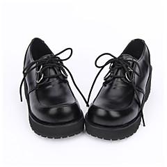 Lolita Shoes Classic/Traditional Lolita Punk Lolita Lolita Handmade Platform Solid Color Lolita 5 CM Black ForPU Leather/Polyurethane