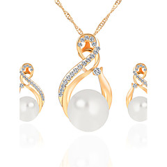 Fashion Elegant Trendy Bride Jewelry Sets Wedding Gold Silver Pearl Rhinestone Earrings Necklace Set For Women Accessories Bijoux collier brincos