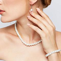 Női Ékszer készlet Nyaklánc / fülbevaló Strands nyakláncok elegáns Menyasszonyi jelmez ékszerek Gyöngy Circle Shape Naušnice Nyaklánc