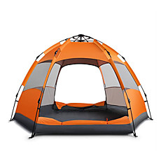 5-8 사람 텐트 더블 베이스 캠핑 텐트 원 룸 자동 텐트 방수 웜 수분 방지 비 방지 텐트 선크림 용 캠핑 & 하이킹 옥스포드 CM