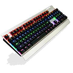Ajazz ak27 104 teclas teclado de jogo mecânico suspenso chaveiro arco-íris retroiluminação anti-vibração interruptor preto