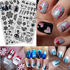 1pcs Fashion Christmas&Halloween Creative Design Nail Stamping Plates Beautiful Snowflake Lovely Expression DIY Image Template Manicure Beauty XYS1-20
