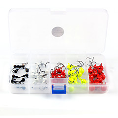 Anmuka Mini Jig Head Fishing Hooks 50Pcs/lot  Lead Hook with Fishing Tackle Box