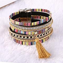 Mulheres Pulseiras de couro Confeccionada à Mão Clássico Pele Formato Circular Jóias Para Casamento Diário Casual Para Noite