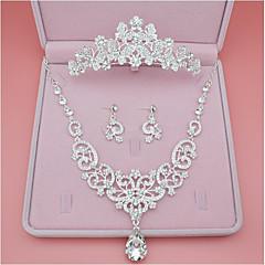 Naisten Niittikorvakorut Kaulakoru jäljitelmä Diamond minimalistisesta Classic Metalliseos Crown Shape Käyttötarkoitus Häät Party