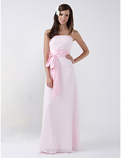 신부 들러리 드레스 - 블러슁 핑크 시스/컬럼 바닥 길이 스트랩 없음 쉬폰 플러스 사이즈