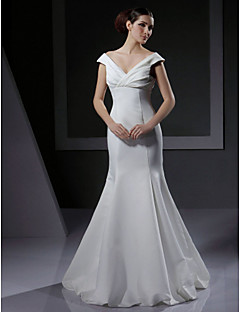 Lanting Trumpet/ Mermaid Off-the-shoulder Floor-length Satin Wedding Dress