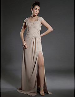 Formal Evening/Military Ball Dress - Champagne Plus Sizes Sheath/Column Square Floor-length Chiffon