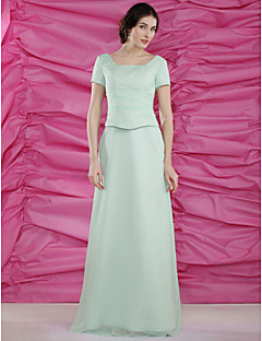 Sheath/Column Plus Sizes / Petite Mother of the Bride Dress-Sage Floor-length Short Sleeve Chiffon