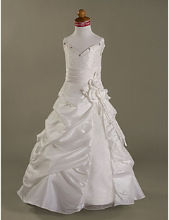 Lanting Bride A-line / Princess Floor-length Flower Girl Dress - Organza / Taffeta Sleeveless Spaghetti Straps withBeading / Crystal