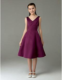 Knee-length Satin Junior Bridesmaid Dress - Grape A-line / Princess V-neck