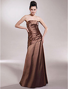 Floor-length Stretch Satin Bridesmaid Dress - Brown Plus Sizes A-line/Princess Strapless