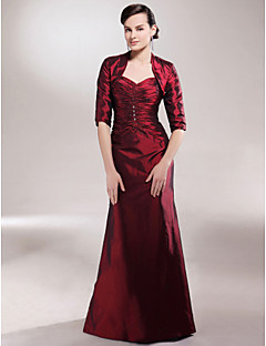 LAN TING BRIDE A-line Plus Size Petite Mother of the Bride Dress - Wrap Included Floor-length Half Sleeve Taffeta withBeading Side