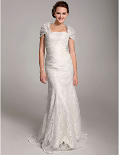 Lanting Bride Trumpet/Mermaid Petite / Plus Sizes Wedding Dress-Floor-length Straps Lace