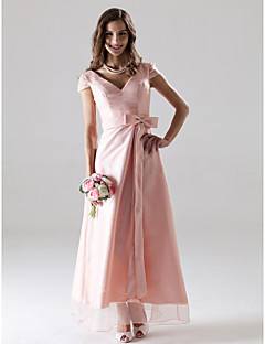 Lanting Bride® Ankle-length Organza Bridesmaid Dress - A-line V-neck Plus Size / Petite with Bow(s) / Sash / Ribbon