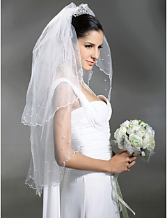 Wedding Veil Two-tier Elbow Veils / Veils for Short Hair Scalloped Edge / Pearl Trim Edge 37.4 in (95cm) Tulle White / IvoryA-line, Ball