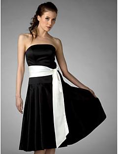 Lanting Knee-length Satin Bridesmaid Dress - Black Plus Sizes / Petite A-line / Princess Strapless