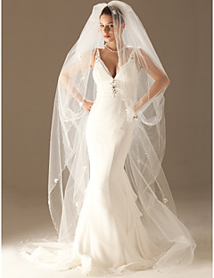 Wedding Veil One-tier Cathedral Veils Scalloped Edge / Pearl Trim Edge 86.61 in (220cm) Tulle WhiteA-line, Ball Gown, Princess, Sheath/