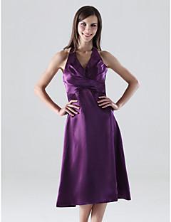 Tea-length Stretch Satin Bridesmaid Dress - Grape Plus Sizes A-line/Princess Halter/V-neck