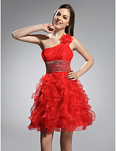 Cocktail Party / Prom / Sweet 16 / Holiday Dress - Short Plus Size / Petite A-line / Princess One Shoulder Short / Mini Organza with