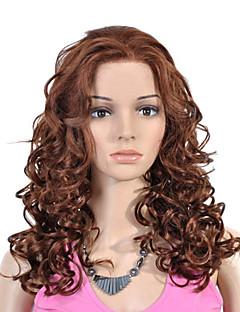 largo del frente del cordón de alta calidad de grado sintético marrón peluca de pelo rizado (0463-lpp542)