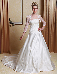 Lanting A-line/Princess Plus Sizes Wedding Dress - Ivory Court Train Scalloped-Edge Satin