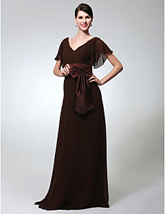 Formal Evening/Military Ball Dress - Chocolate Plus Sizes Sheath/Column V-neck Floor-length Chiffon