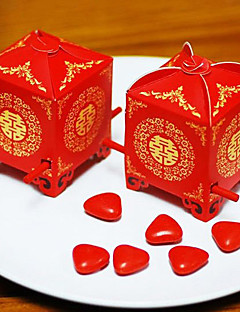 12 Piece/Set Favor Holder - Cubic Card Paper Favor Boxes Asian Style Red Sedan Chair