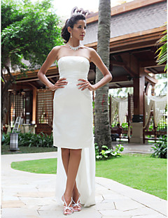Sheath/ Column Strapless Knee-length Satin Wedding Dress With Removable Watteau Train