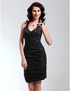 Sheath/Column Straps Short/Mini Taffeta Cocktail Dress