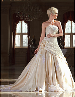 Lan Ting A-line Plus Sizes Wedding Dress - Champagne Cathedral Train Strapless Taffeta/Lace