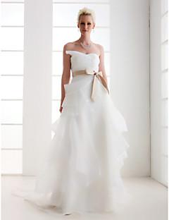 Lanting Attractive A-line Sweetheart Court Train Satin Wedding Dress