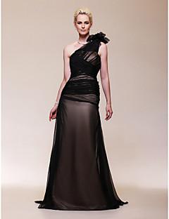 저녁 정장파티/밀리터리 볼 드레스 - 블랙 A라인 스위프/브러쉬 트레인 원 숄더 쉬폰 플러스 사이즈