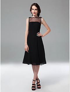 TS Couture® Cocktail Party / Holiday Dress - Little Black Dress Plus Size / Petite A-line / Princess Bateau Knee-length Chiffon / Tulle with Beading