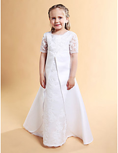 A-line / Princess Floor-length Flower Girl Dress - Lace / Satin Short Sleeve Jewel with Beading / Lace / Split Front